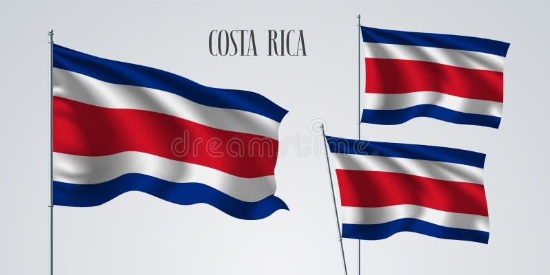 Costa Rica waving flag set of vector illustration stock illustration