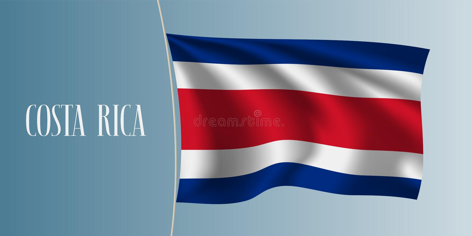 Costa Rica waving flag vector illustration. Stripes elements as a national Costa Rica symbol stock illustration