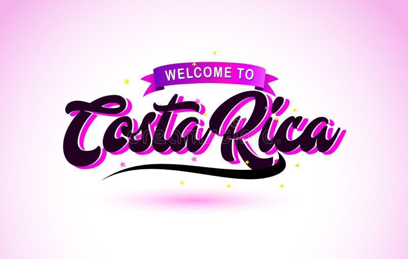 Costa Rica Welcome till den handskrivna stilsorten för idérik text med purpurfärgade rosa färger planlägger vektor illustrationer