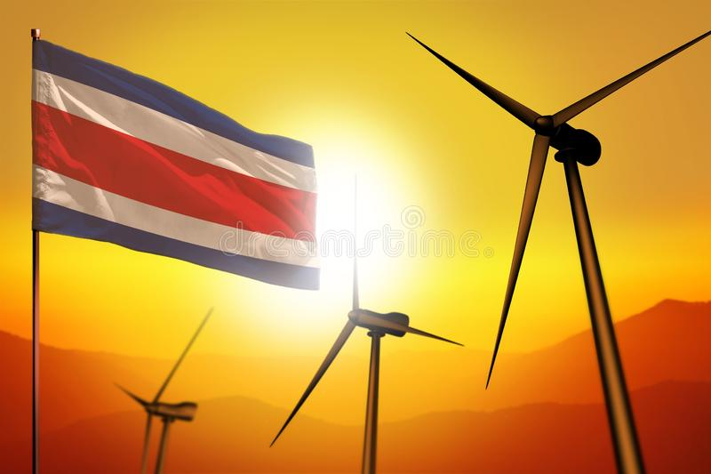 Costa Rica-Windenergie, Umweltkonzept der alternativen Energie mit Windkraftanlagen und Flagge auf industrieller Illustration des stock abbildung