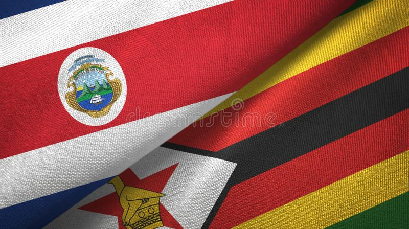 Costa Rica and Zimbabwe two flags textile cloth, fabric texture. Costa Rica and Zimbabwe flags together textile cloth, fabric texture vector illustration