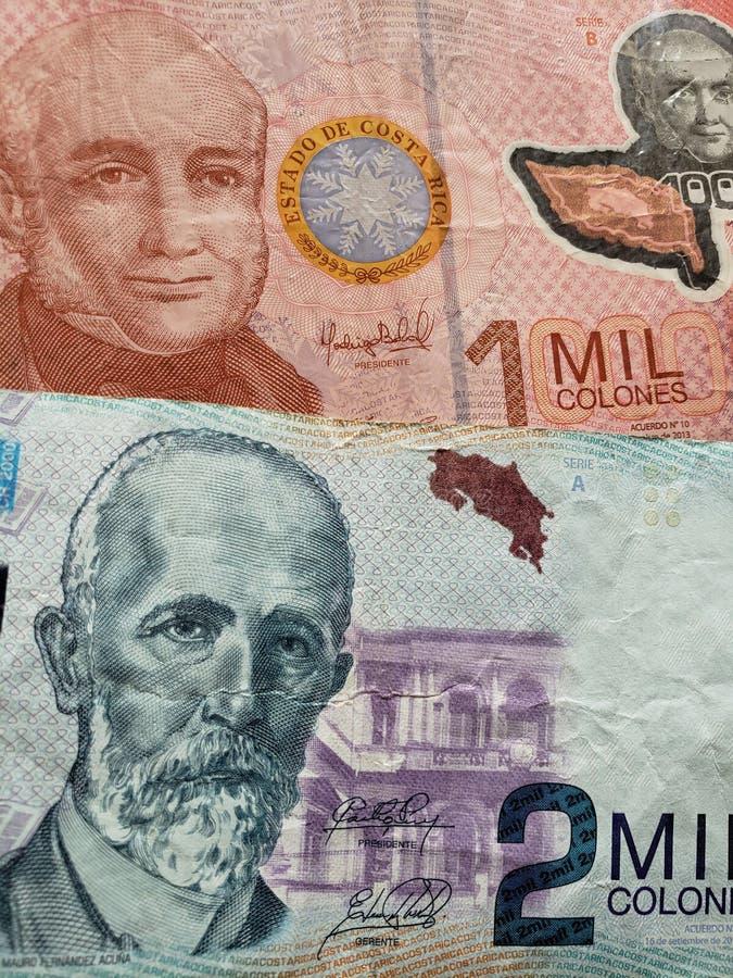 Costa Rican-bankbiljetten van verschillende benamingen, achtergrond en textuur