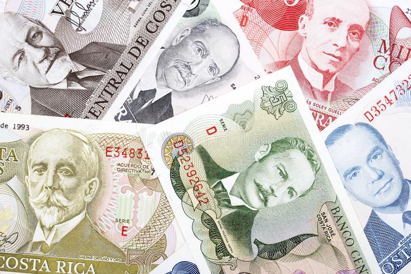 Costa Rican pieniądze, tło fotografia royalty free
