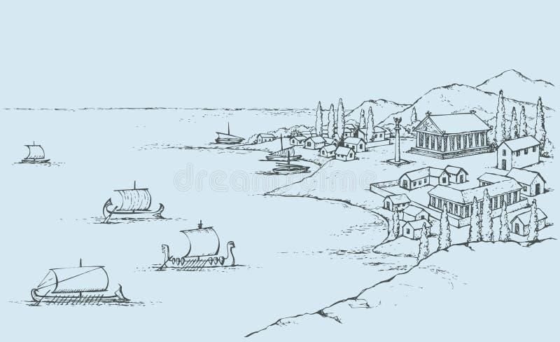 Costa rocciosa con le costruzioni del greco antico Schizzo di vettore illustrazione di stock