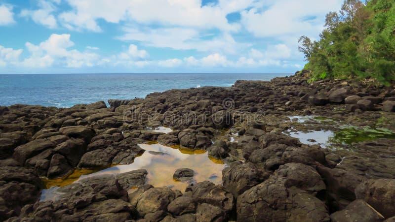 Costa rocciosa, stagni di acqua e oceano Pacifico blu al bagno della regina, Kauai, Hawai, Stati Uniti immagini stock libere da diritti