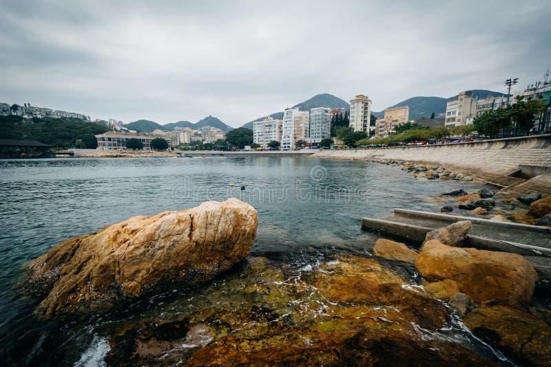 Costa rocciosa a Stanley, su Hong Kong Island, Hong Kong immagine stock libera da diritti