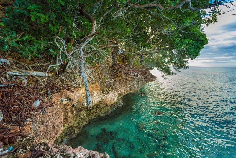 Costa rochosa da ilha da prisão imagens de stock royalty free