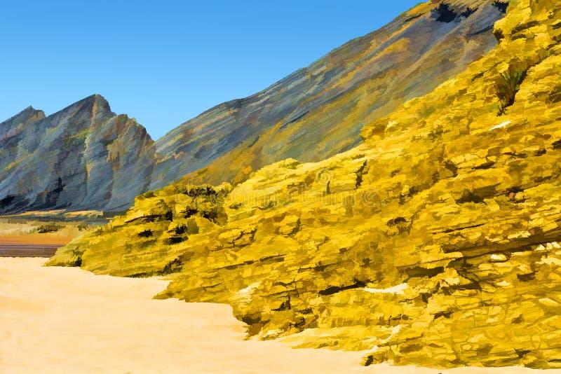 Costa rocosa en Portugal ilustración del vector