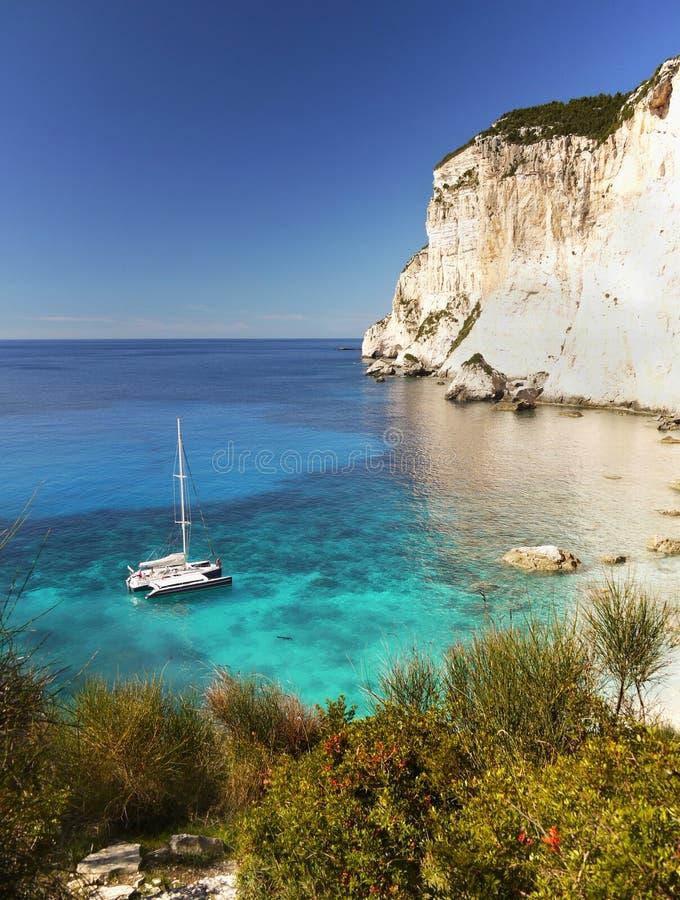 Costa salvaje - isla de Paxos, viaje Grecia foto de archivo