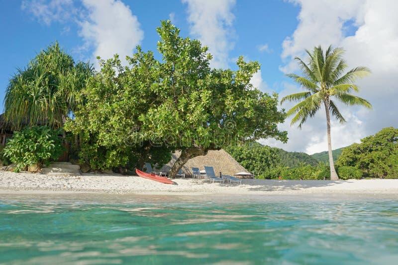 Costa tropical da praia com caiaque Polinésia francesa foto de stock royalty free