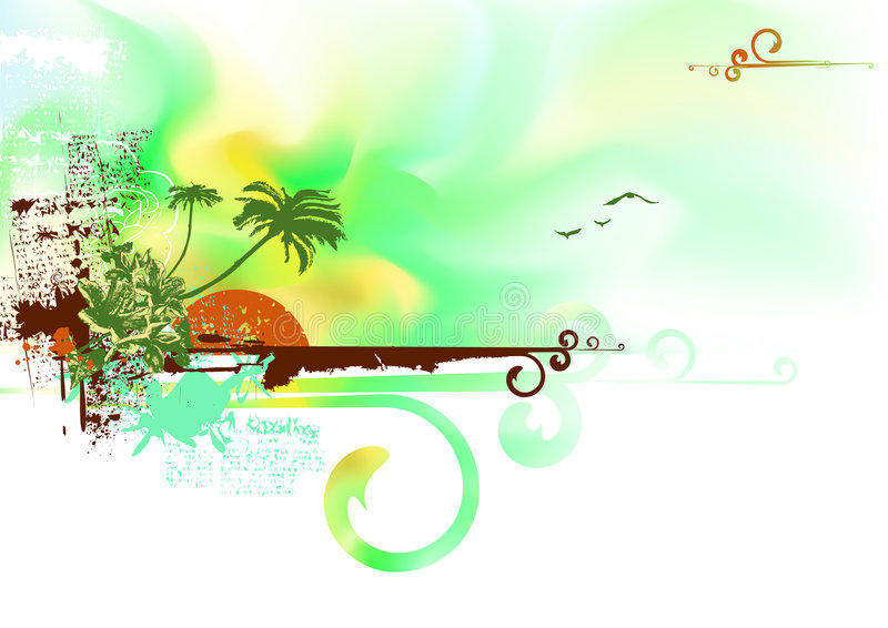 Costa tropical del océano ilustración del vector