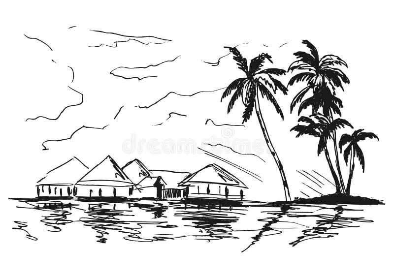 Costa tropical do esboço da mão ilustração stock