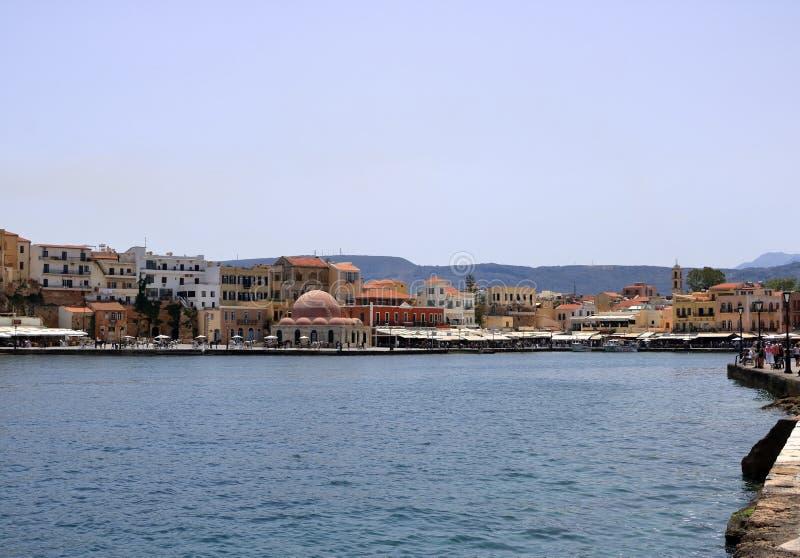 Costa veneciana del puerto de Famouse de la ciudad vieja de Chania, Creta, Grecia fotos de archivo
