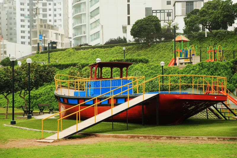 Costa Verde (Green Coast) in Miraflores. Playground in a park on the Costa Verde (Green Coast) in Miraflores, Lima, Peru stock photos