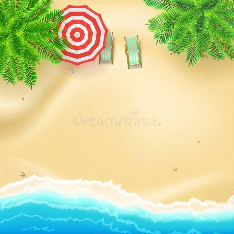 Costa y playa arenosa, endecha plana Vista superior de la playa arenosa con los accesorios del verano Playa tropical, palmas, ond stock de ilustración