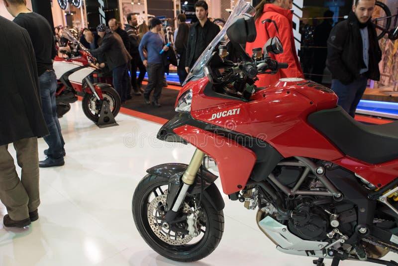 Costantinopoli, Turchia - 28 febbraio 2015: 2015 Ducati di modello all'Expo Costantinopoli della bici dell'Eurasia Moto immagine stock libera da diritti