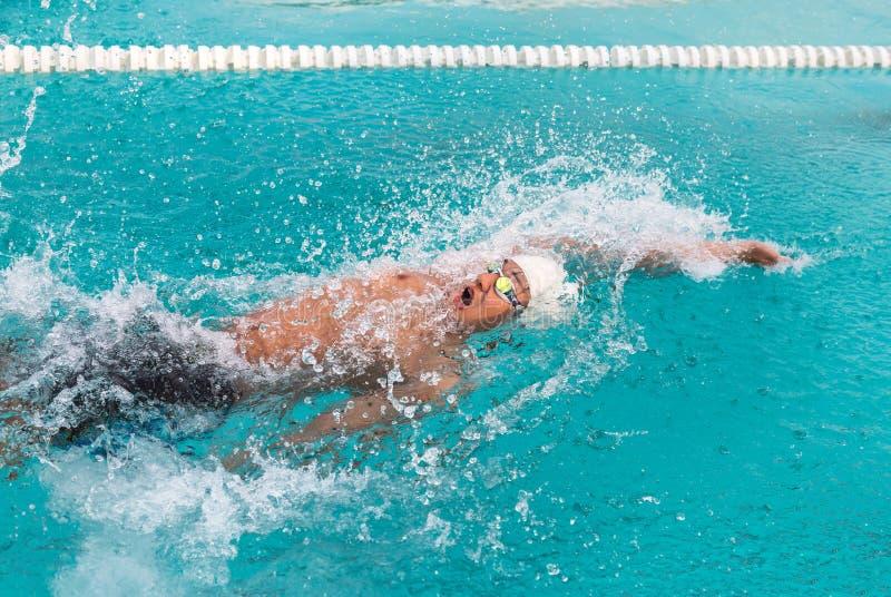 Costas da natação do nadador fotografia de stock royalty free