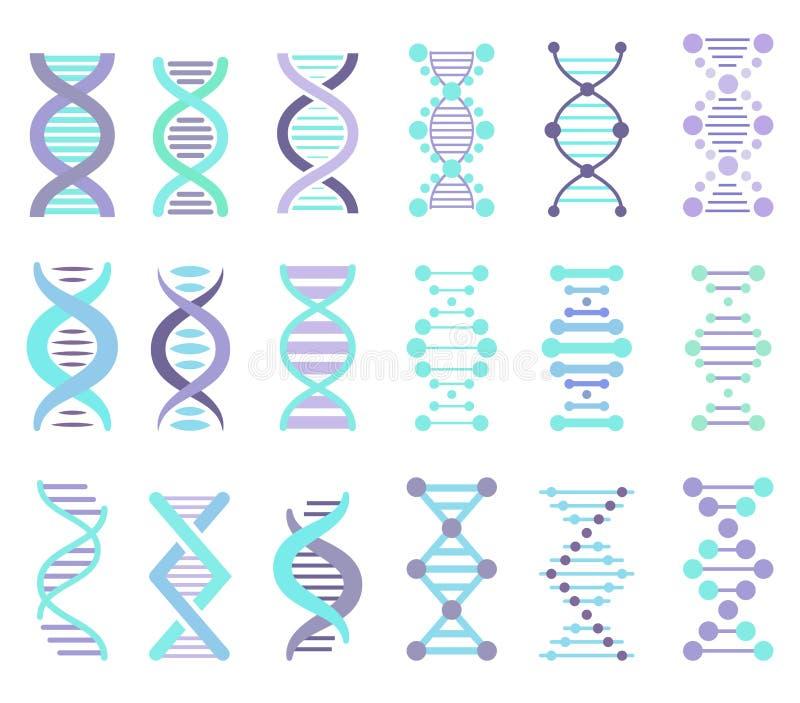 Costas do ADN ajustadas ilustração do vetor