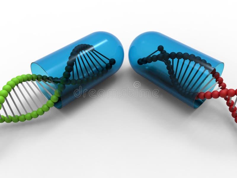 Costas verdes e vermelhas do ADN ilustração do vetor