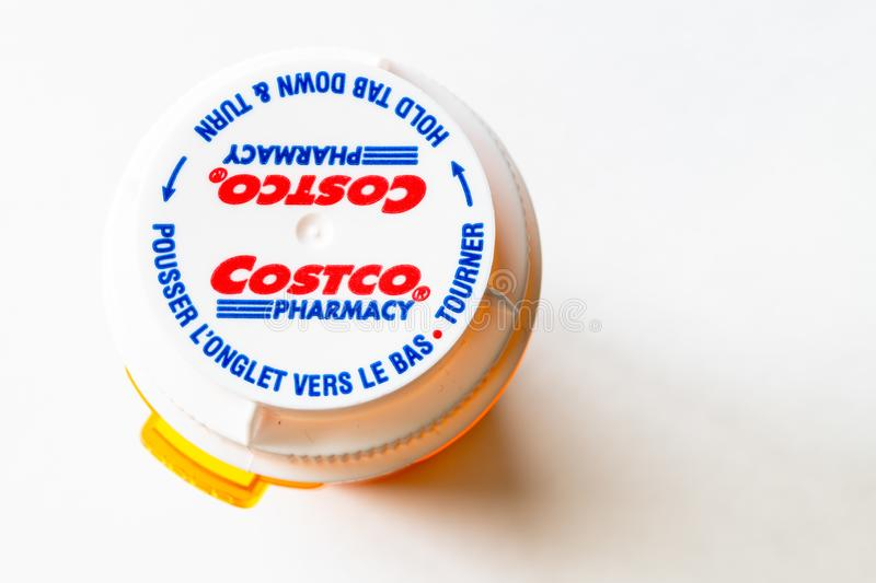 Costco Pharmacy plastic bottle, high angle view royalty free stock photo