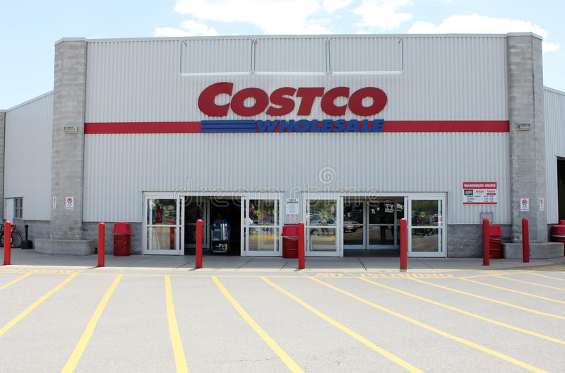 Costco Wholesale. Storefront in Etobicoke, Ontario, Canada.  operates an international chain of membership warehouses, carrying brand name merchandise at royalty free stock images