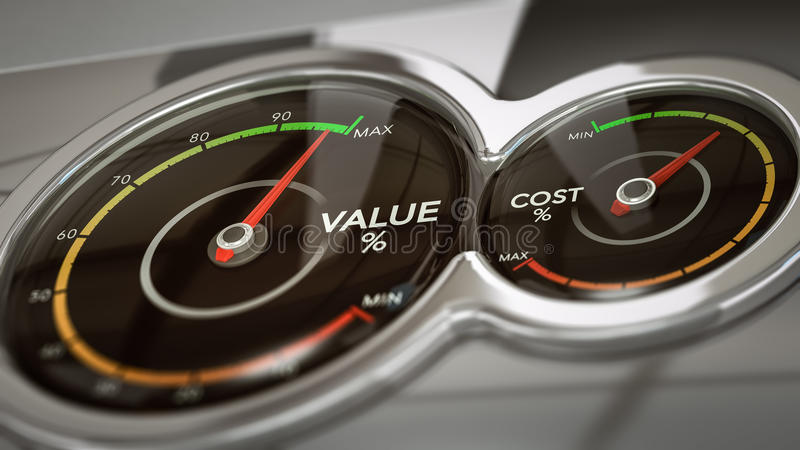 Coste CONTRA análisis de valor stock de ilustración