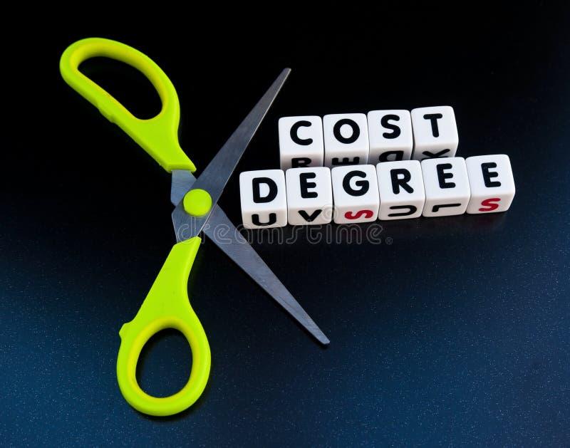 Coste del corte de un grado fotografía de archivo