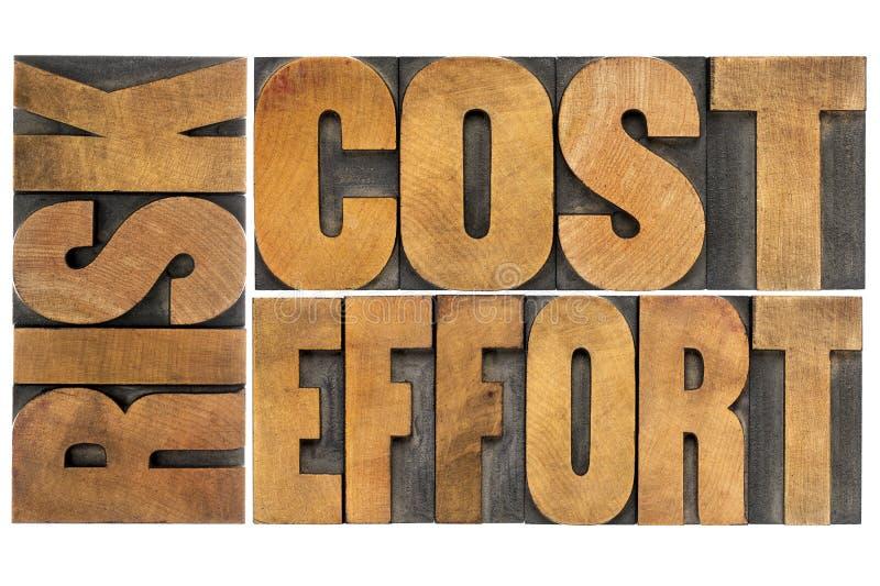 Coste, esfuerzo, riesgo - concepto del asunto imagen de archivo libre de regalías