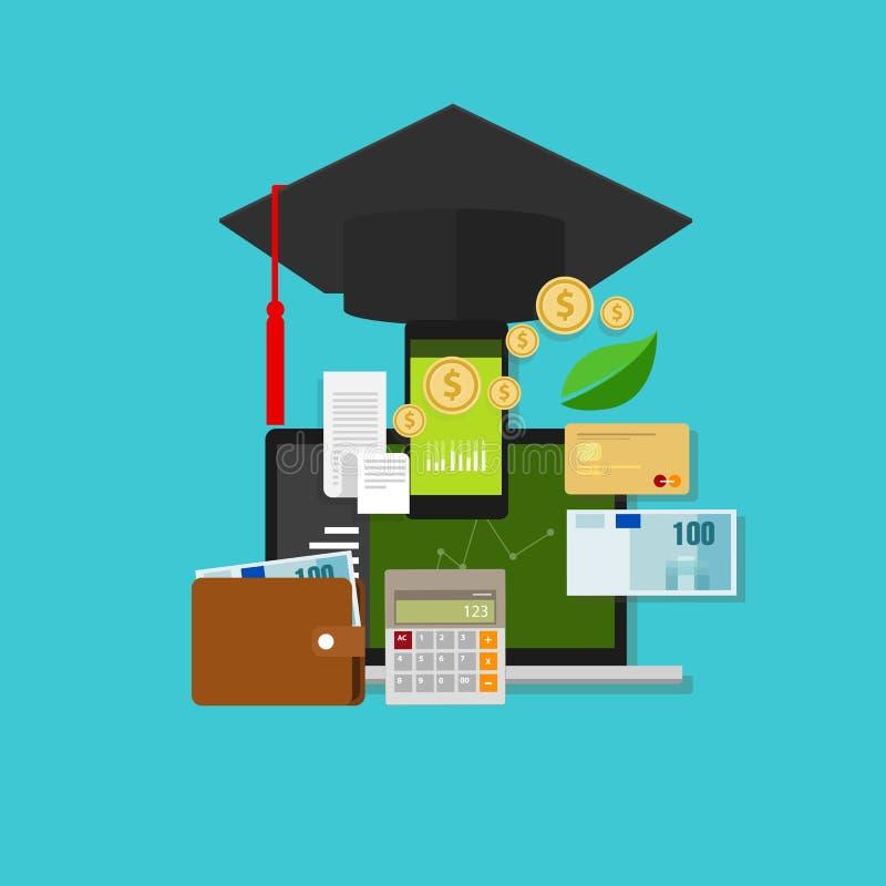 Coste financiero de la gestión de dinero de la educación stock de ilustración
