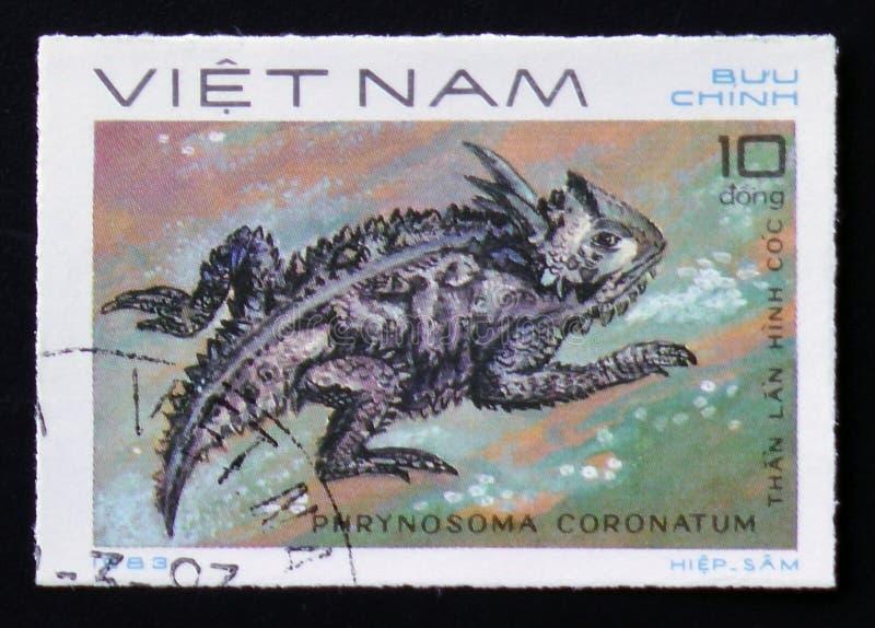 Costeie lagarto Horned com o coronatum do Phrynosoma da descrição dos répteis da série, cerca de 1983 imagem de stock royalty free