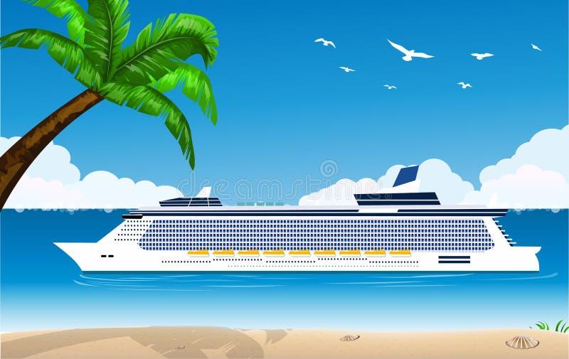 Costela Luminosa do navio de cruzeiros ilustração royalty free
