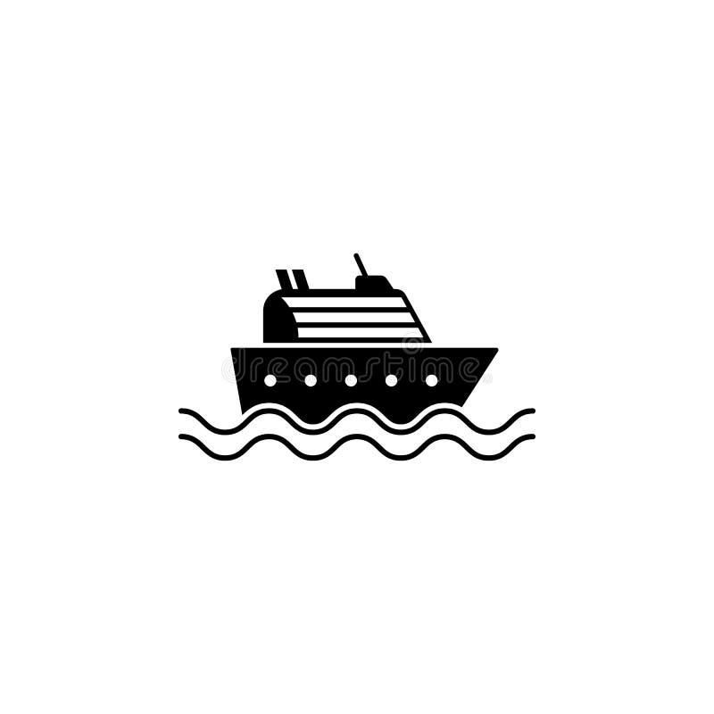 Costela Luminosa do navio de cruzeiros Etiqueta do vetor do bon voyage com volante ilustração do vetor