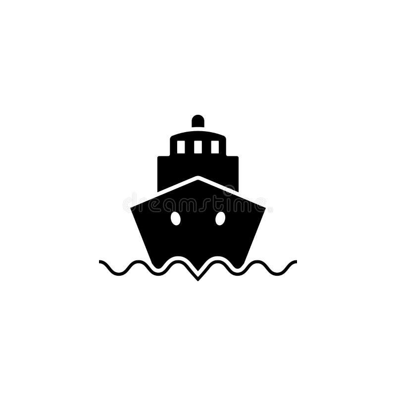 Costela Luminosa do navio de cruzeiros Etiqueta do vetor do bon voyage com volante ilustração royalty free