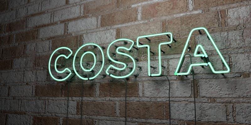 COSTELA - Sinal de néon de incandescência na parede da alvenaria - 3D rendeu a ilustração conservada em estoque livre dos direito ilustração do vetor
