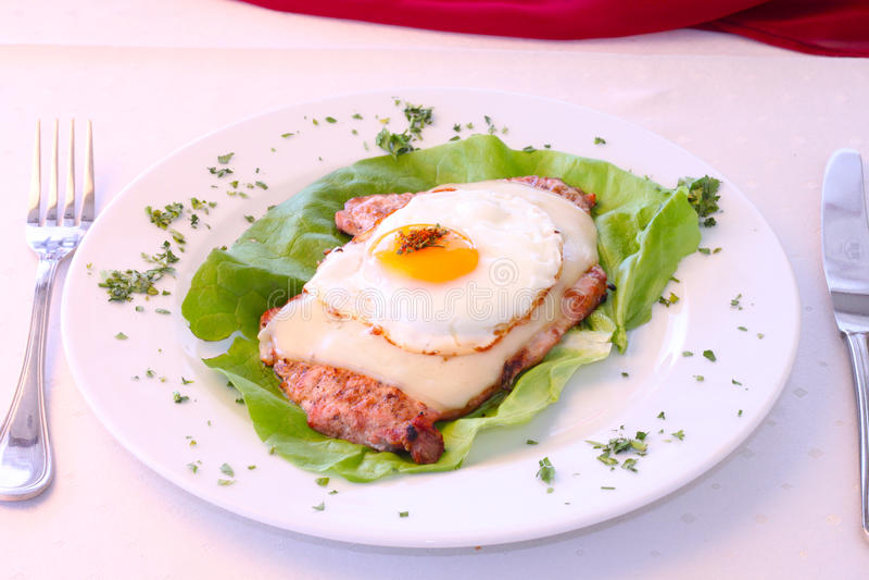 Costeleta de carne de porco com ovo imagem de stock royalty free