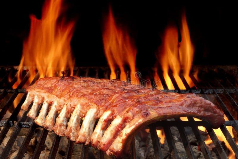 Costeleta de porco magra da parte traseira ou da carne de porco do bebê na grade flamejante quente fotos de stock royalty free