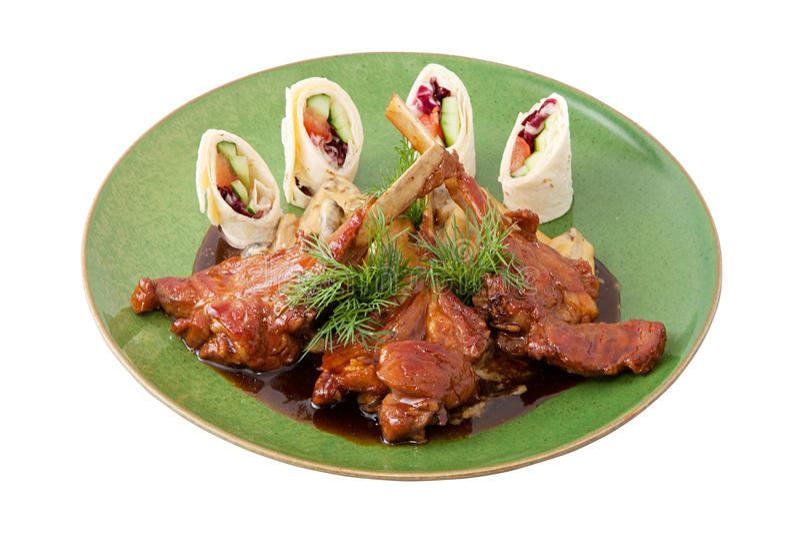 Costeletas de cordeiro com arroz picante imagem de stock royalty free