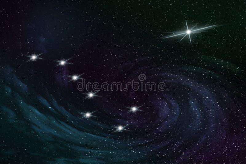 Costellazione di grande orso e la stella polare nel cielo stellato di notte, illustrazione royalty illustrazione gratis
