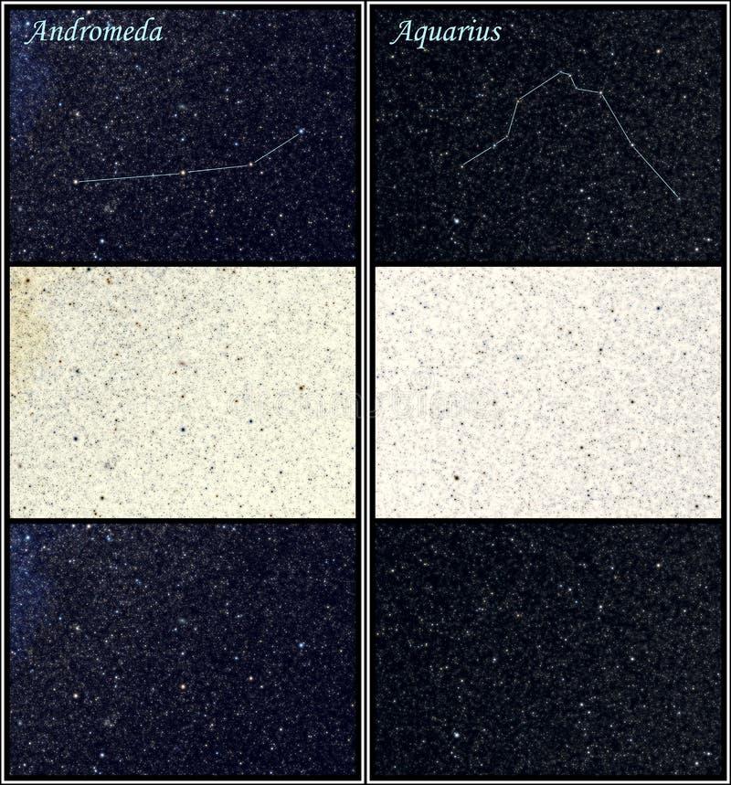 Costellazioni del Aquarius e del Andromeda illustrazione di stock