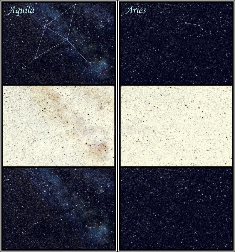Costellazioni del Aries e di Aquila illustrazione vettoriale