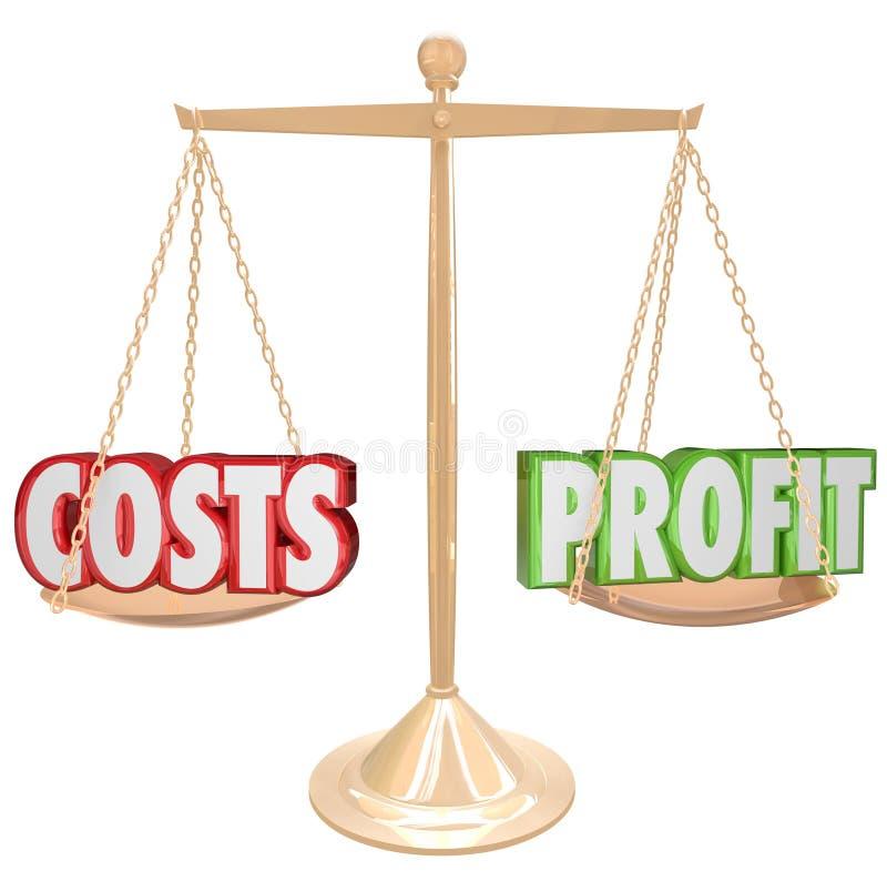 Costes contra la balanza del oro del beneficio que pesa palabras libre illustration