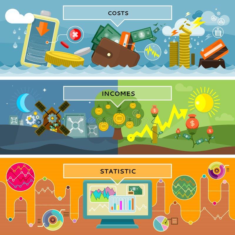 Costes y rentas de la estadística de las finanzas stock de ilustración