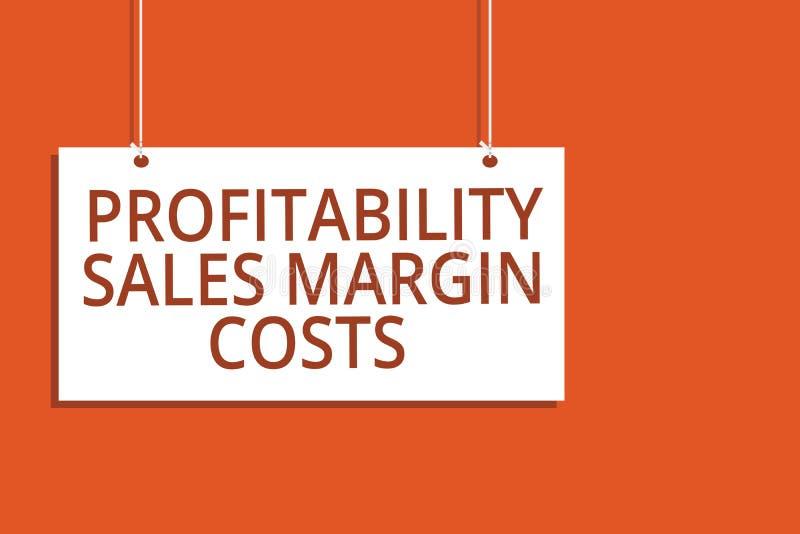 Costi del margine di vendite di redditività del testo di scrittura di parola Concetto di affari per i guadagni del bilancio dei r illustrazione vettoriale