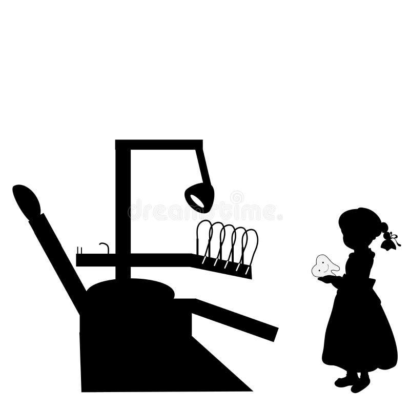 Costi della ragazza della siluetta con stomatologia del dente Dentista Day del mondo illustrazione vettoriale