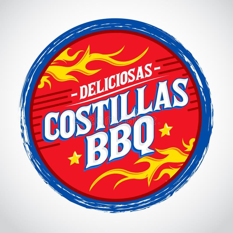 Costillas BBQ Deliciosas - Wyśmienicie grill Żebruje hiszpańskiego tekst ilustracja wektor