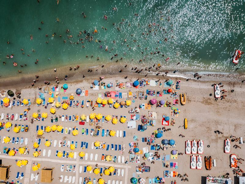 Download Aerial View From Flying Drone Of People Crowd Relaxing On Costinesti Beach In Romania Editorial