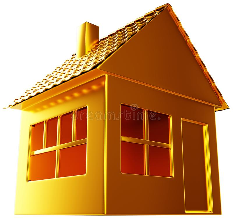 Costly realty: golden house shape isolated stock illustration