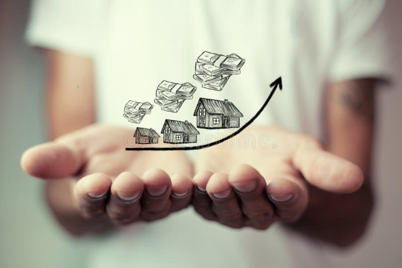 Costo crescente delle case, concetto del bene immobile immagini stock