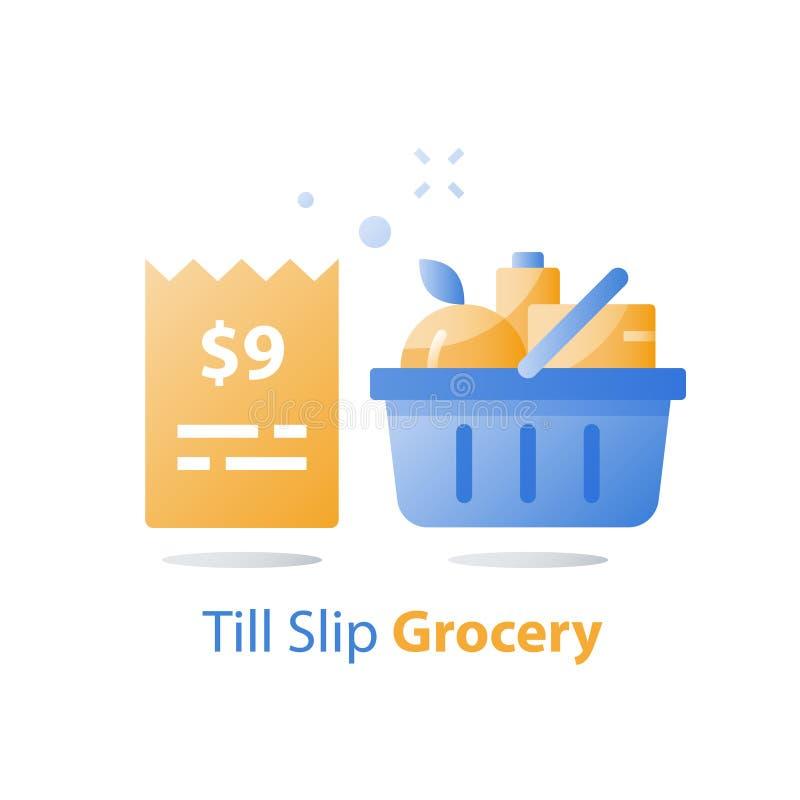 Costo dell'alimento, fino allo slittamento ed al canestro pieno della drogheria, offerta speciale del supermercato, concetto del  royalty illustrazione gratis