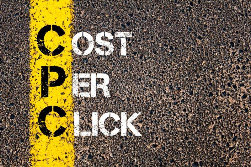 Costo di acronimi CPC per clic fotografia stock